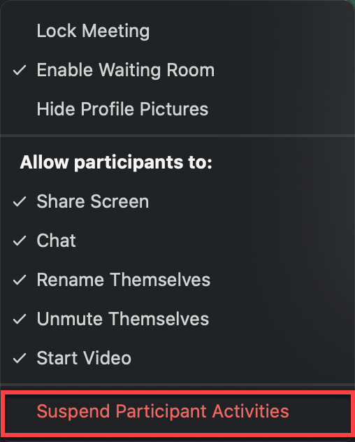 screenshot showing how to suspend participant activities