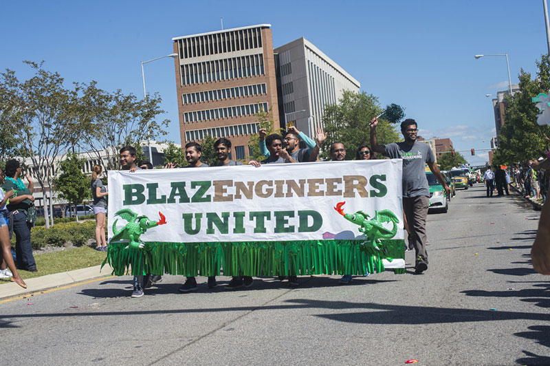Engineering walking in the UAB homecoming parade.