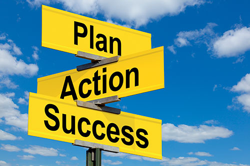Plan, action, and success street signs.
