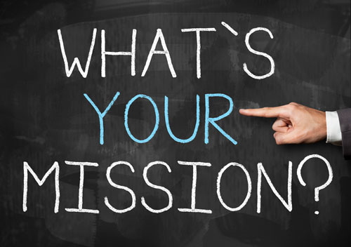 """What's Your Mission"" written on a blackboard."
