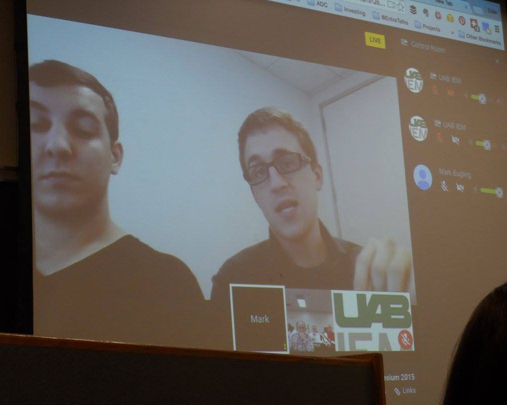 Two IEM graduates talking to an IEM class via Skype.