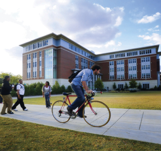 Students biking on campus.
