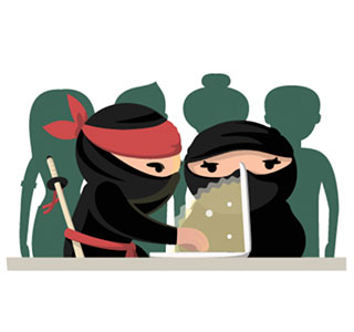 Cartoon ninjas on the computer.