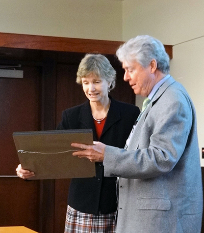 Provost Linda Lucas recognized for outstanding service by UAB Faculty Senate.