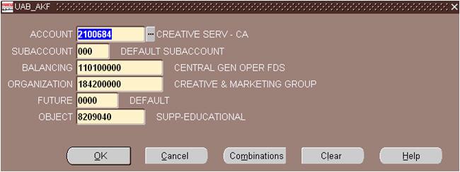 uab financial affairs general ledger account key