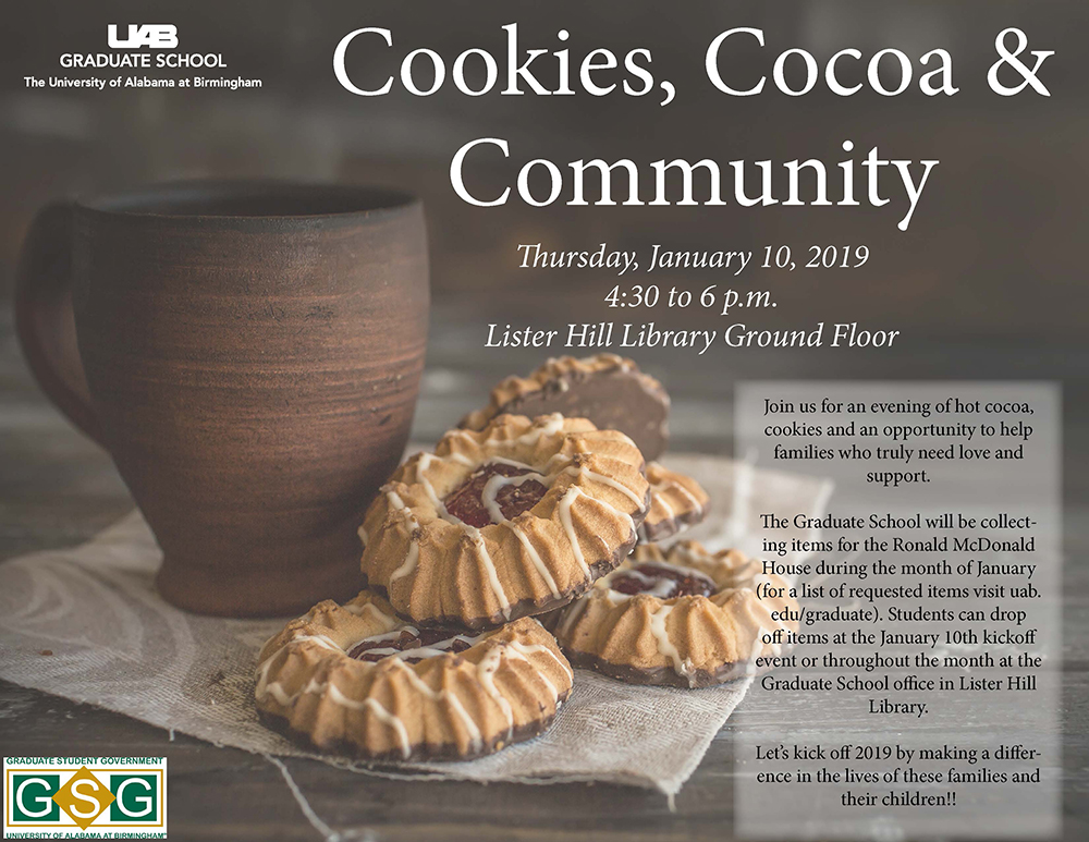 Cookies Cocoa Community flyer (all details are in article text).