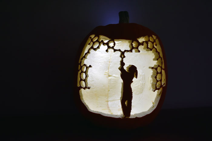 Pumpkin carving of a person.