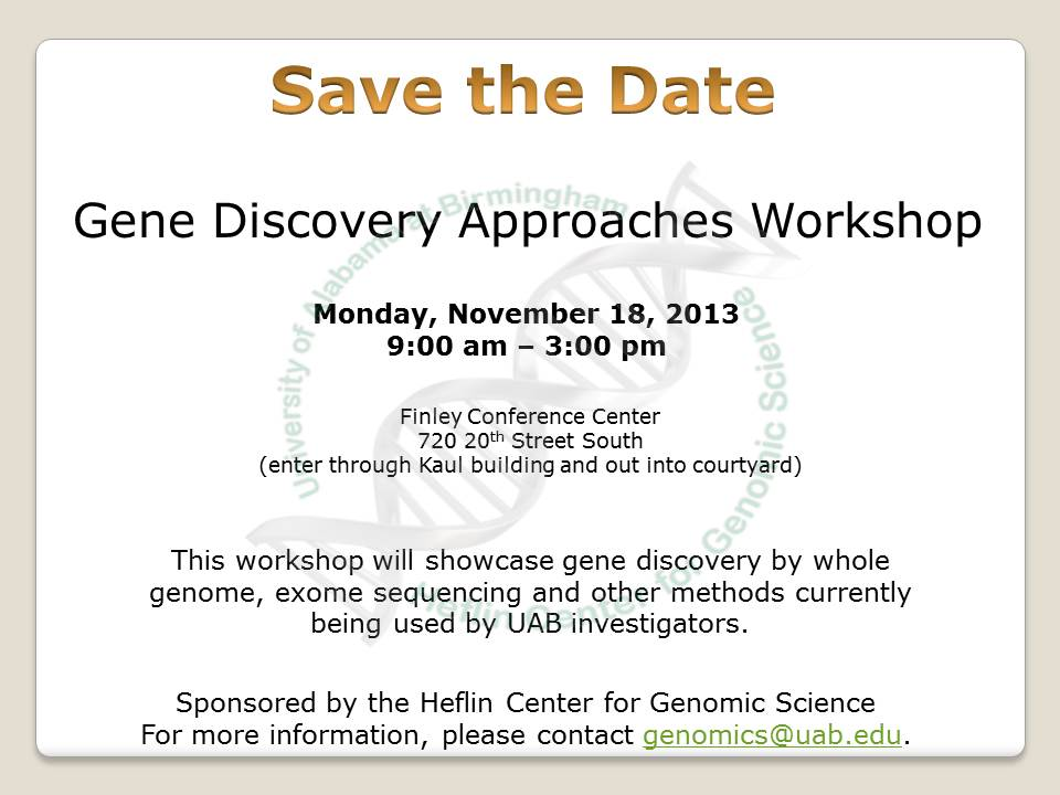 Gene Discovery Approaches Workshop flyer