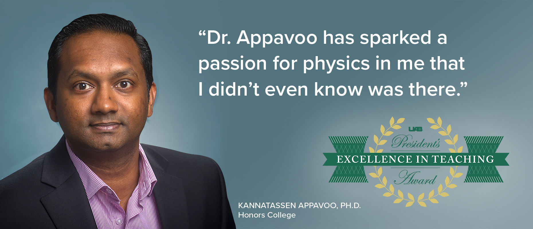 President's Award: Excellence in Teaching - Dr. Appavoo