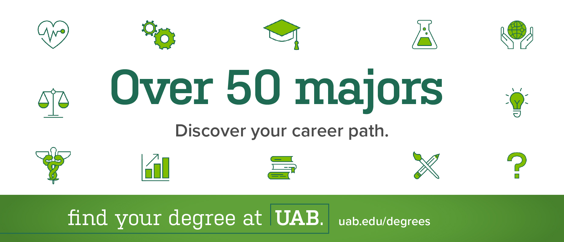 Over 50 majors: Discover your career path. Find your degree at UAB.