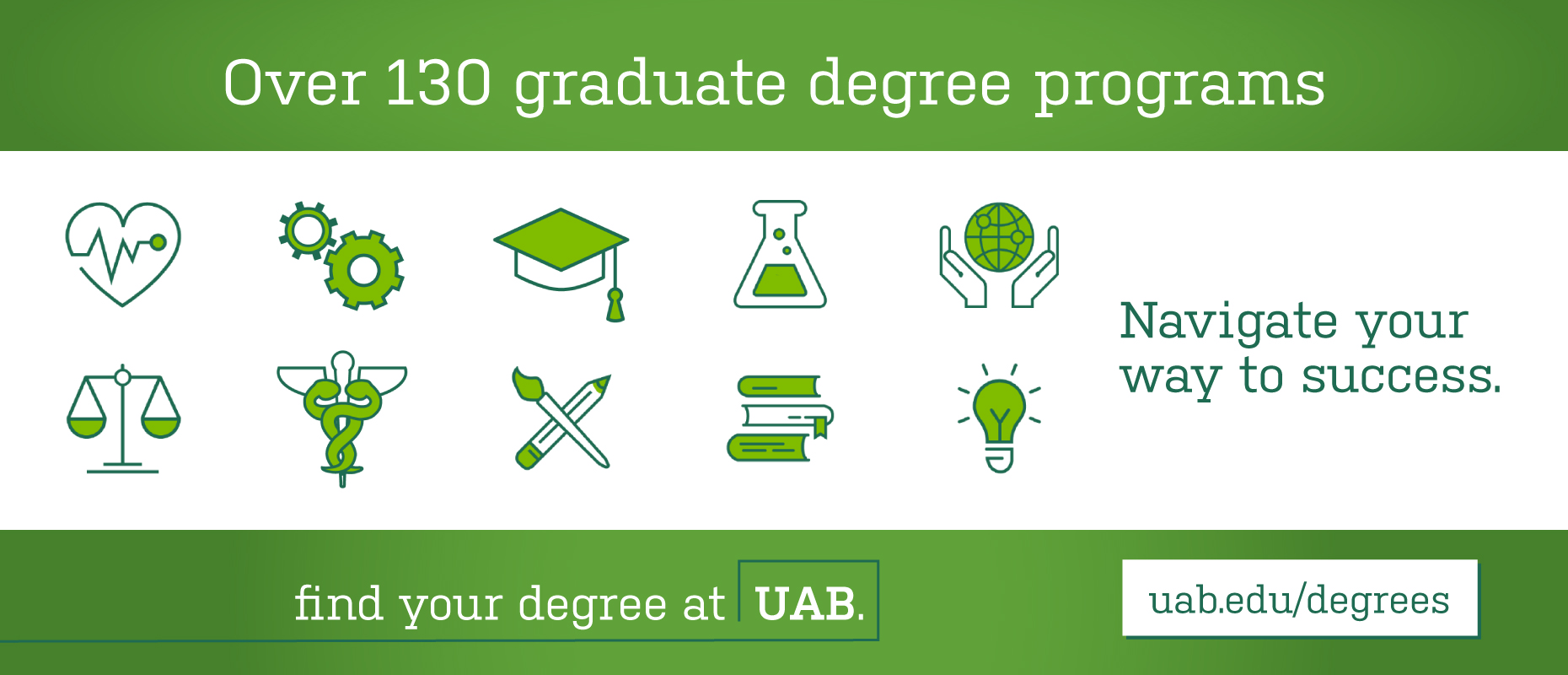 Over 130 graduate degree programs. Find your degree at UAB