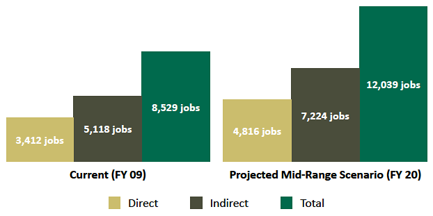 Generating Research Bar Graph Jobs-Current and Projected Research Employment Impact of UAB (jobs)