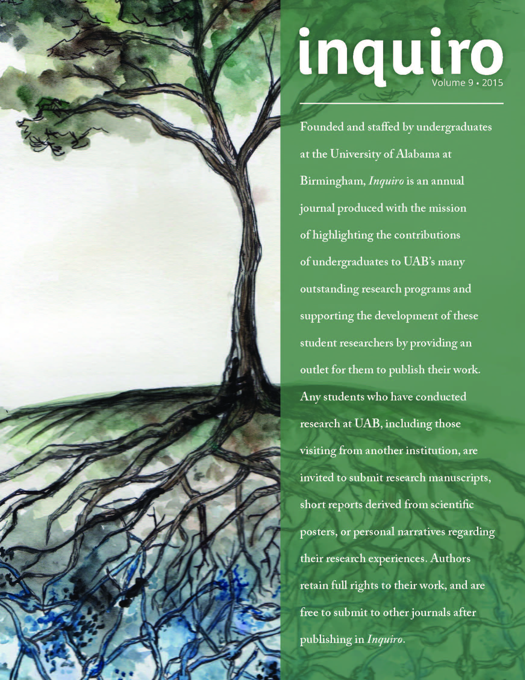 Watercolor tree with root system and about statement from inside cover of 2015 issue of Inquiro