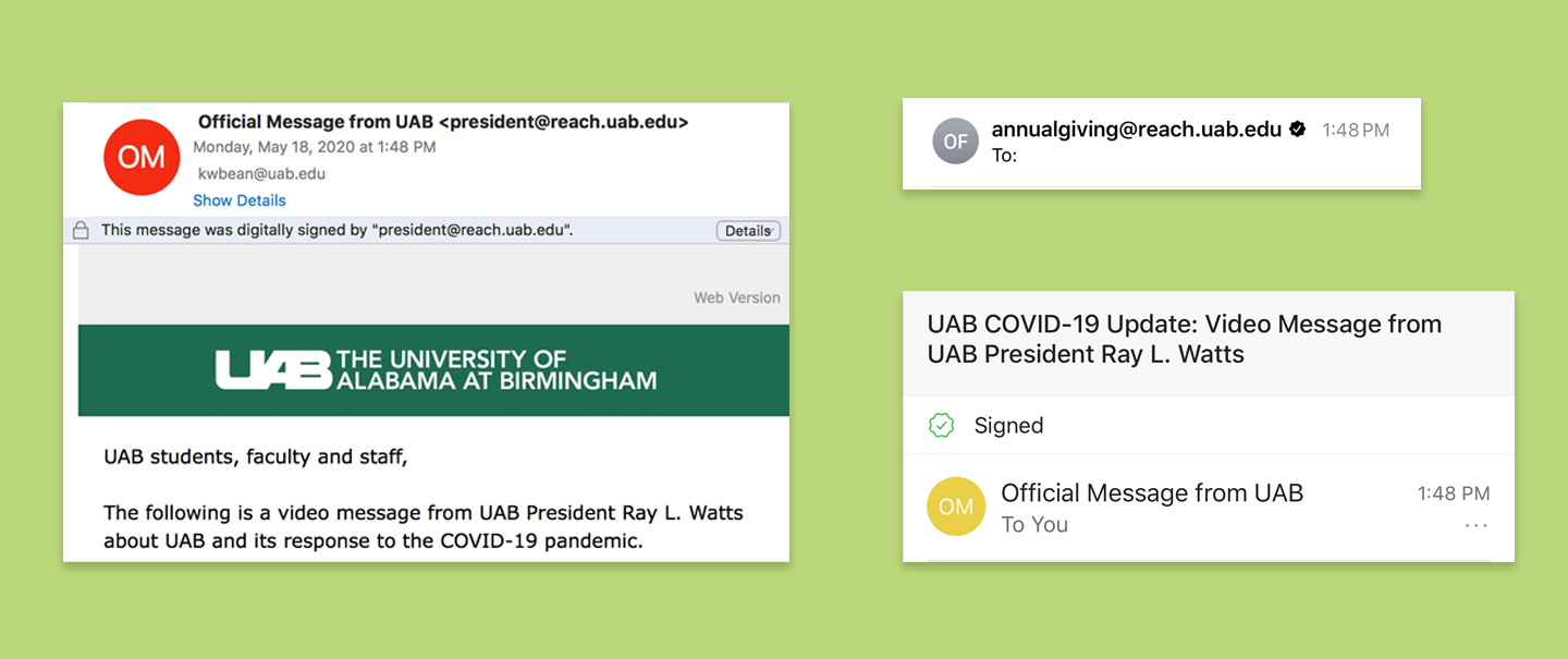 Look for digital signature on official campus emails
