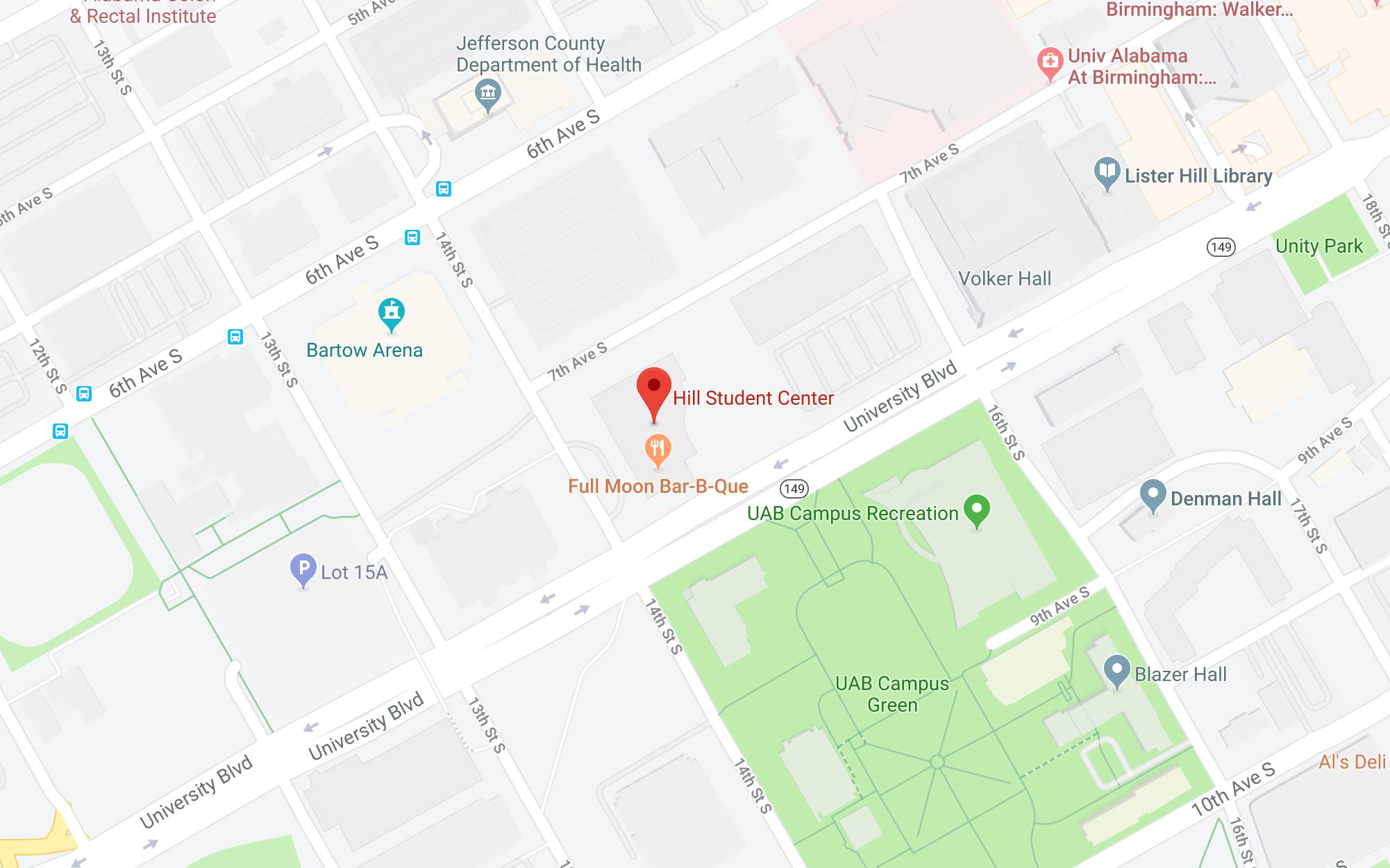 Location of Hill center on Google Maps