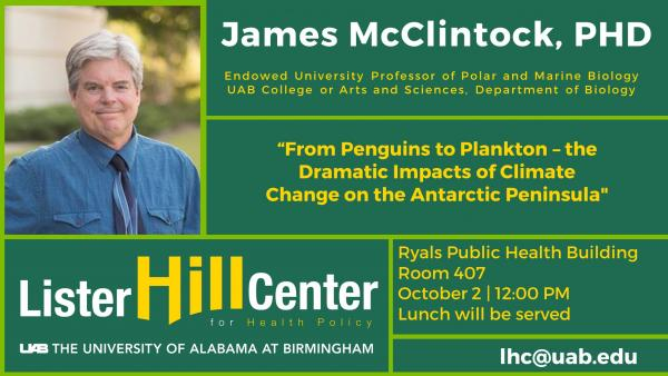 October 2: James McClintock, PhD