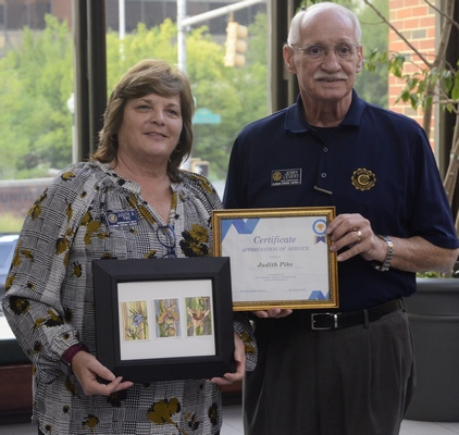 Photo of Judith A. Pike (left) Governor Elect of Civitan Alabama Central District, receiving an Award of Appreciation from Jerry Levert, Governor Civitan Alabama Central District, co-sponsors of the event.