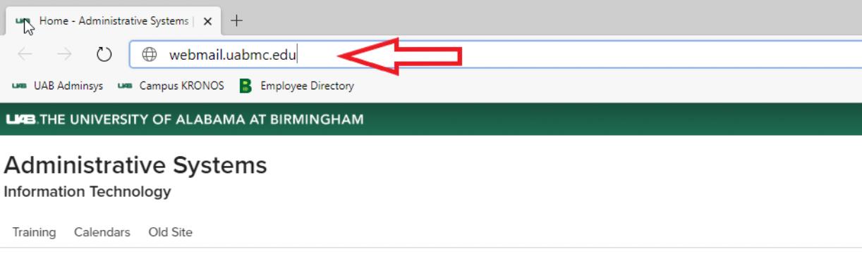 Open webmail.uabmc.edu