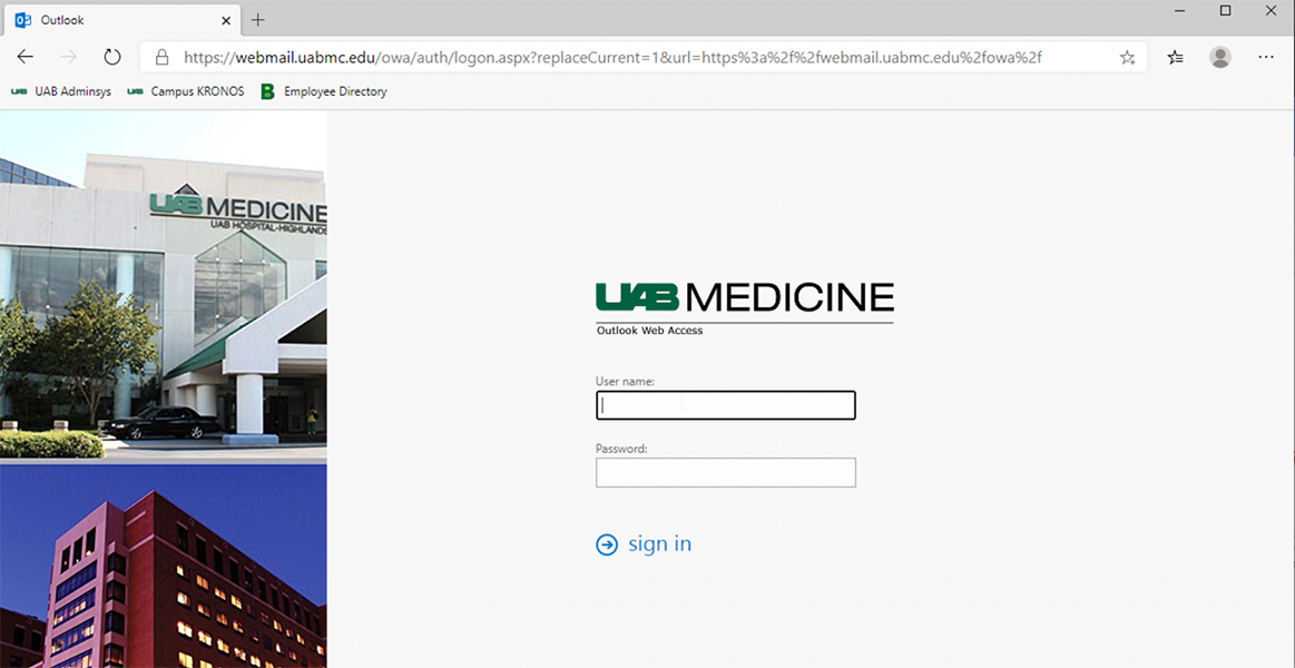 Sign in with your UABMC password