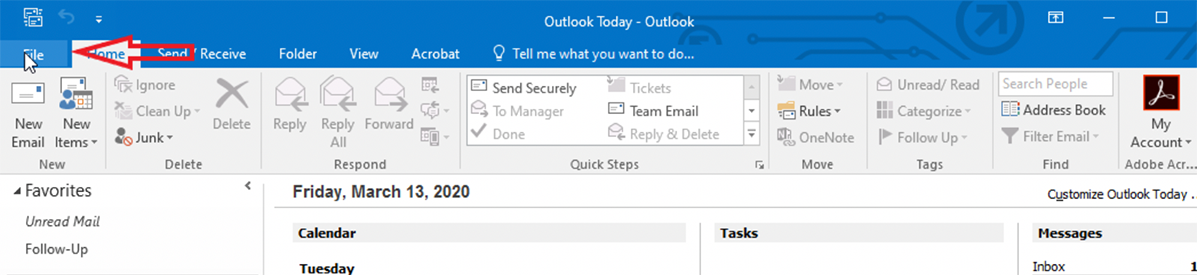Click File in Outlook