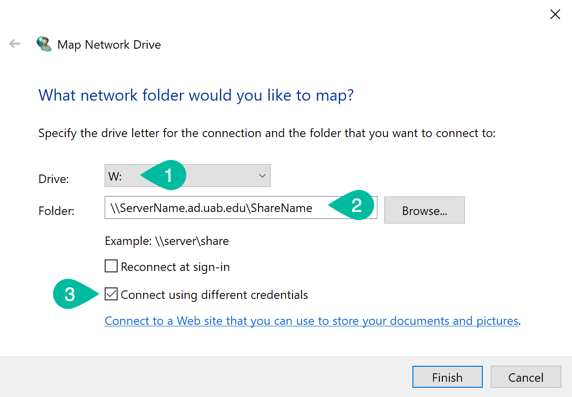 Select drive letter