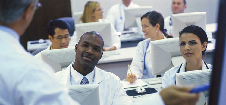 Gastroenterology trainees in a classroom setting