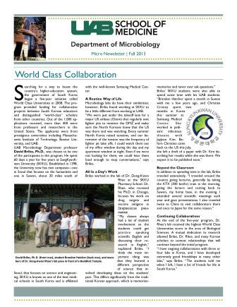 Microbiology Department Newsletter  Fall 2013 Page 01