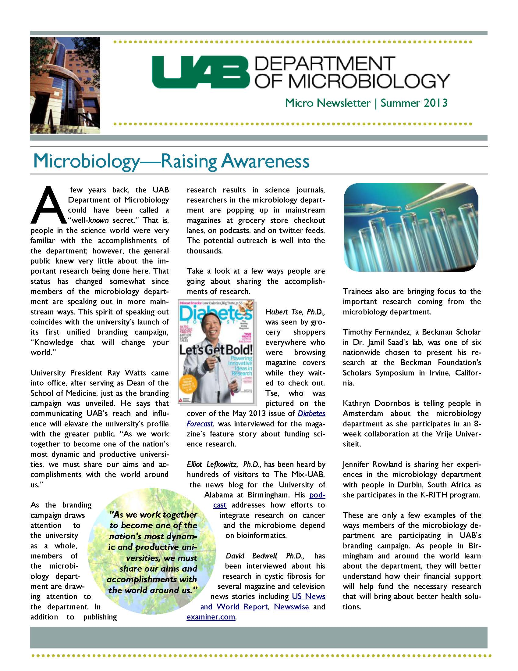Microbiology Newsletter Summer 2013 Page 1