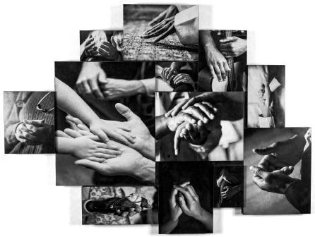 black and white hands collage compressed