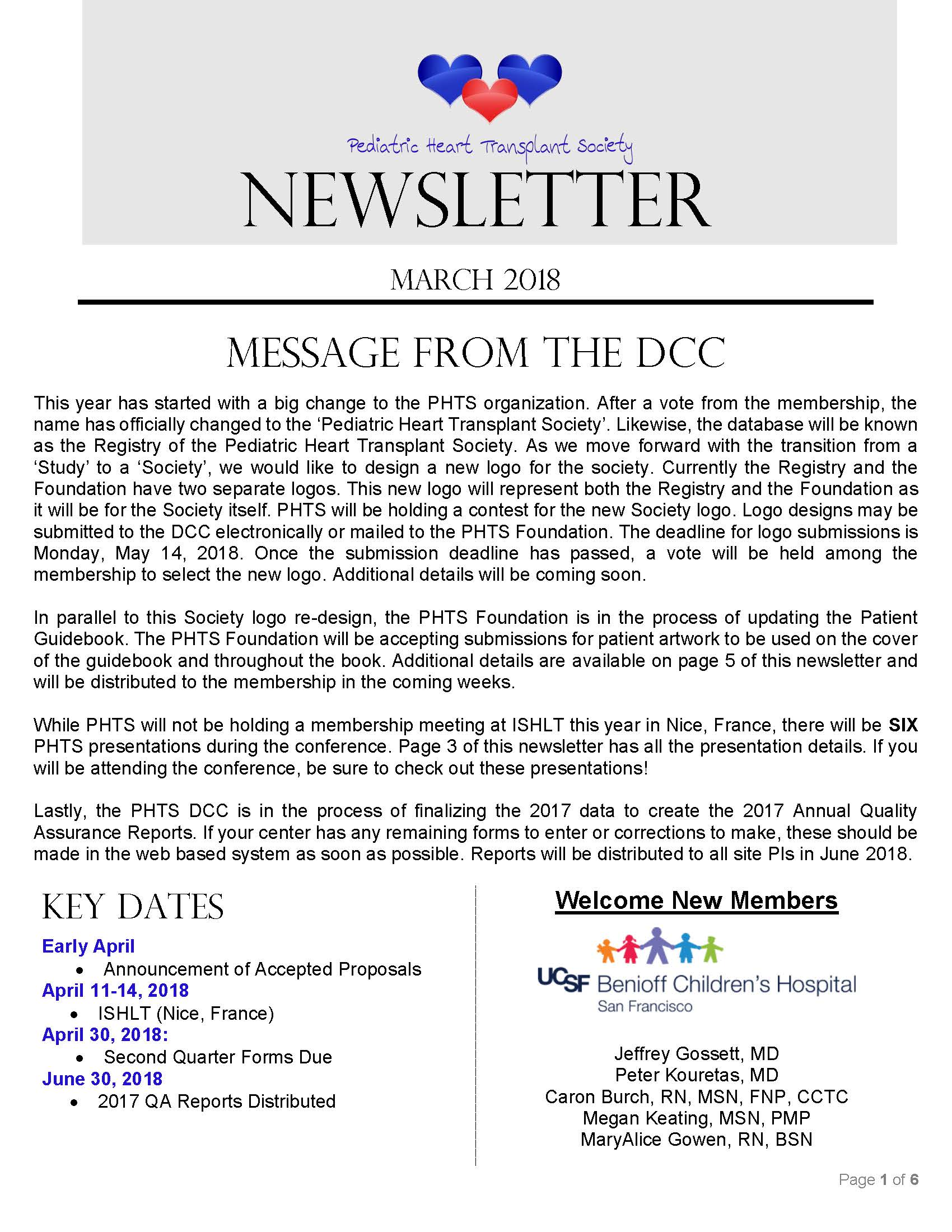 Spring Newsletter Page 1 2018