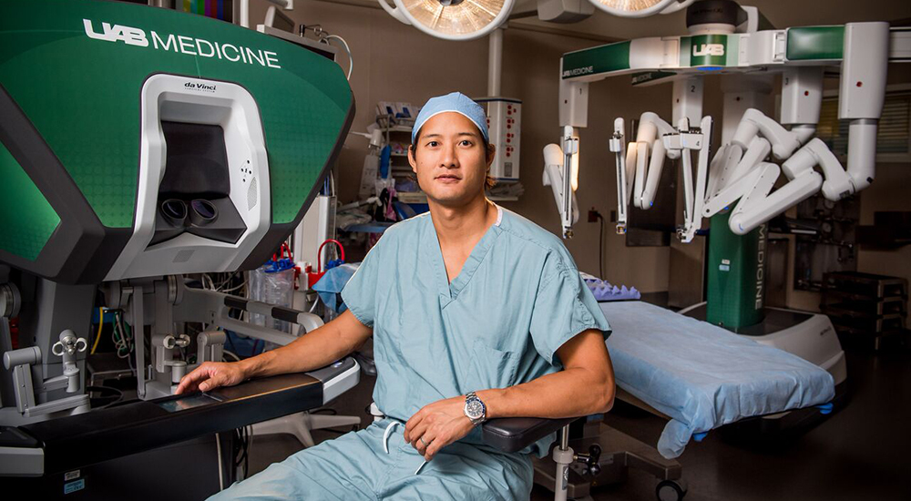 Dr. Benjamin Wei showcases the robotic tools used by surgeons in the Division of Cardiothoracic Surgery.