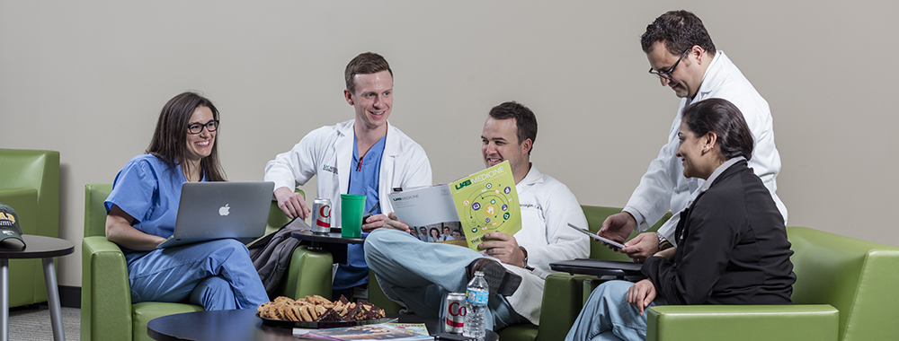 General surgery residents relax in the Hill Student Center.