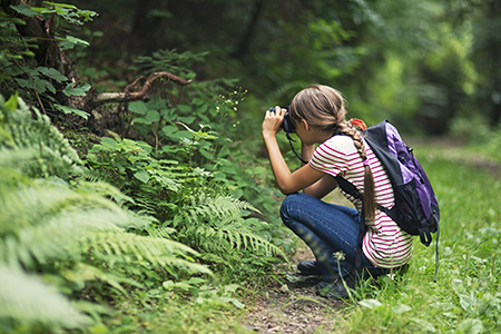 Little girl taking photos in the forest. The girl is aged 10 and is wearing backpack.