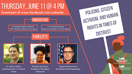 Copy of Policing Citizen Activism and Human Rights in Times of Distrust June 11 4 pm 3 panelists keep space for headshots and names co moderators Dr. Paulette Patterson Dilworth Vice President for Diversit11