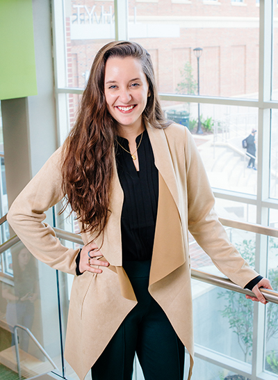 Environmental shot of Leah Perz (Student, International Studies and Foreign Languages) taken inside University Hall, 2020.