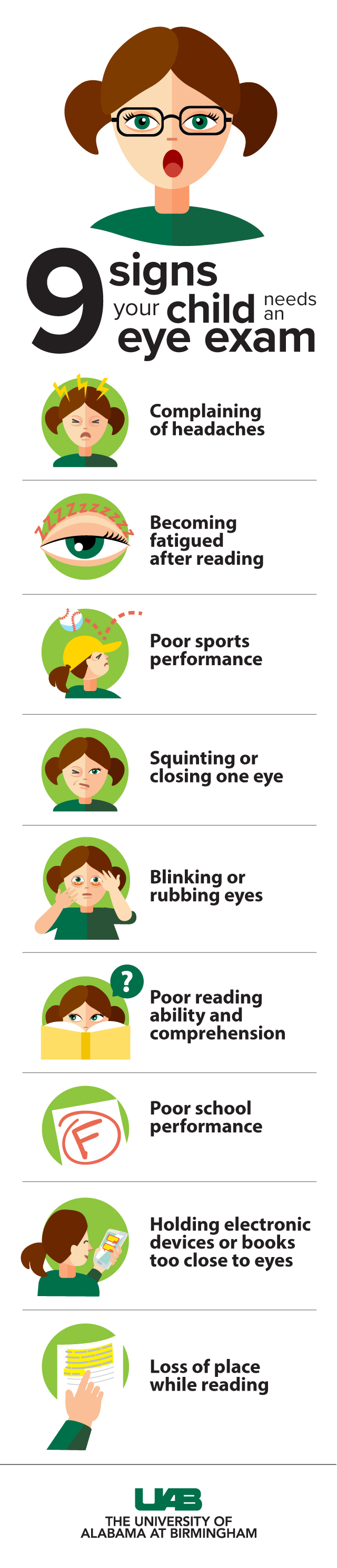 simplified 9 signs child may need eye exam graphic
