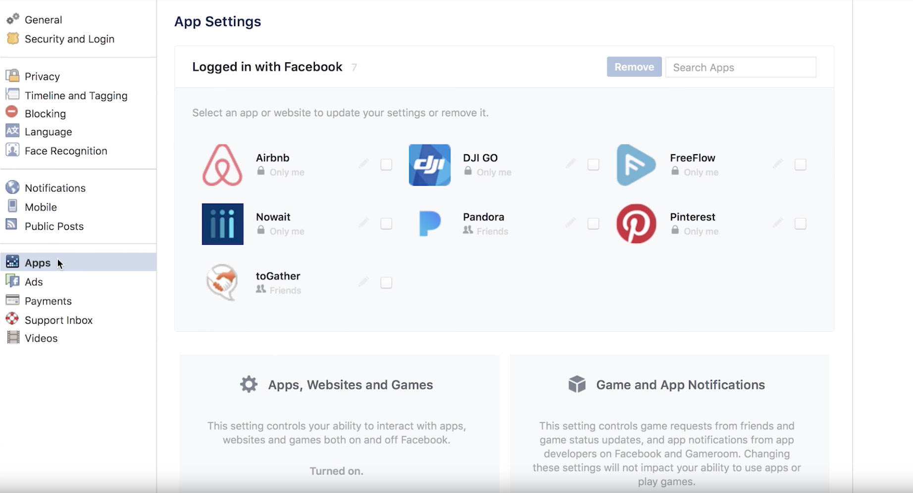 how to change settings facebook games