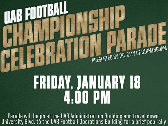 City of Birmingham to hold championship parade for UAB Football on Jan. 18