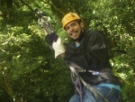 Photo of student Daniel Mendoza on a zipline in Costa Rica