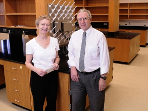 The newly renovated Vision Research Laboratories in Volker Hall will promote collaboration between the departments of Optometry and Ophthalmology. Judith Kapp, left, vice chair for basic research in Ophthalmology, together with Paul Gamlin, chair of Vision Sciences, both expect this new partnership to bring the scientific world closer to understanding the diseases that cause blindness.