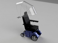 Umbrella for power wheelchairs makes rainy days less of a mess