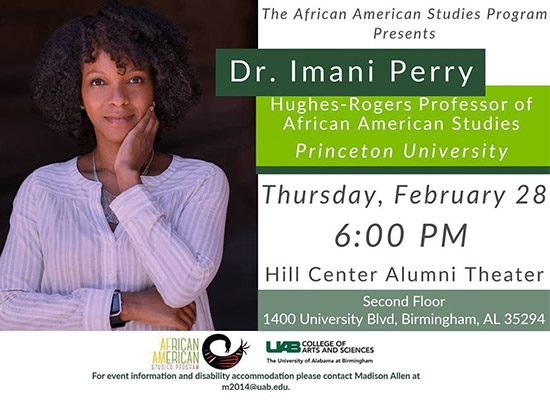African American Studies Program Presents: A Lecture From Dr. Imani Perry, Feb. 28
