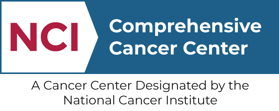 Logo with the text: NCI - Comprehensive Cancer Center - A Cancer Center Designated by the National Cancer Institute