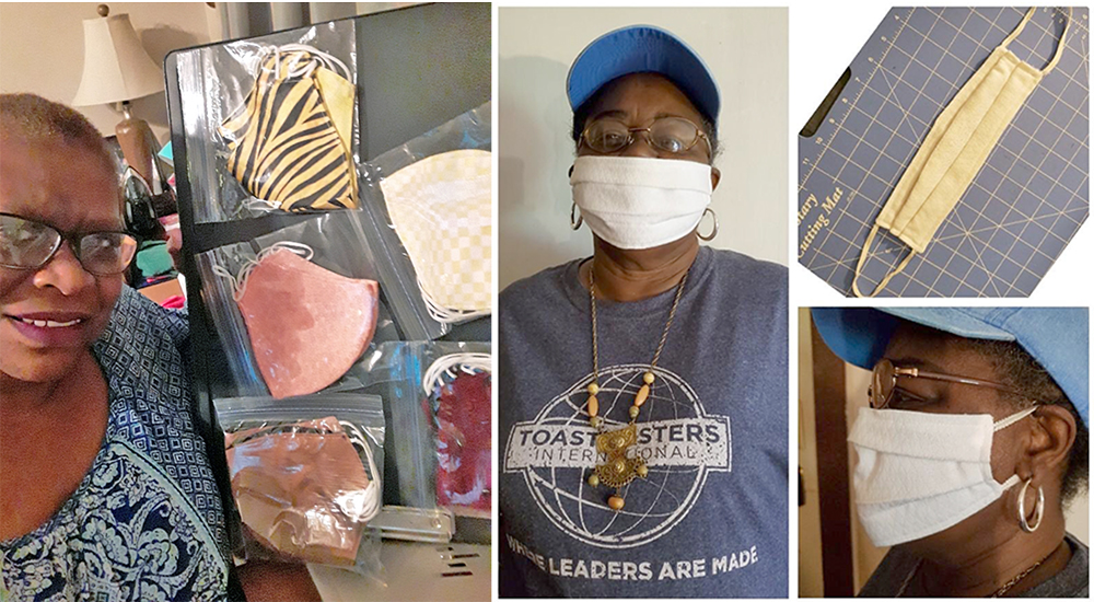 Linda Fluker (left) and Naomi King (right) showcase some of the many masks they have made and donated to their communities. (Photos submitted)