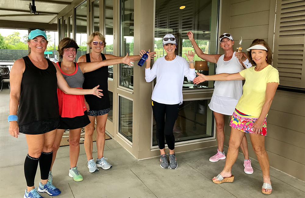 After Susan Bishop Williams' stem cell transplant at the UAB Bone Marrow Transplant Unit, she and friends gathered for a tennis match to celebrate the end of her treatment. (Photo submitted)
