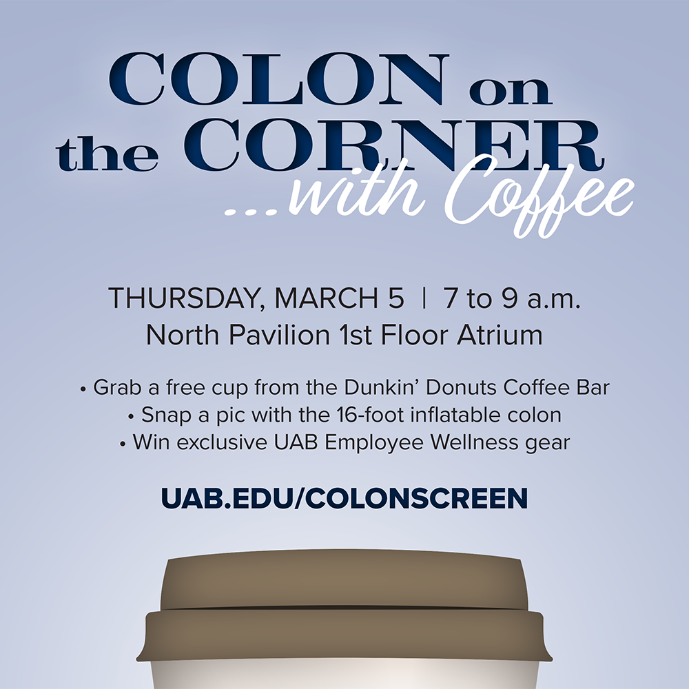Learn more about colon cancer and the importance of screening at Colon on the Corner with Coffee.