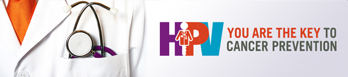 Image of a white lab coat with HPV logo with text - You are the key to cancer prevention
