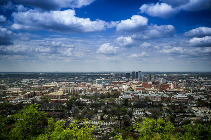 Cityscape view of UAB Campus and Birmingham