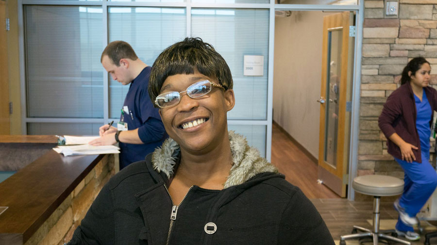 Patient smiling during the Gift of Sight event.