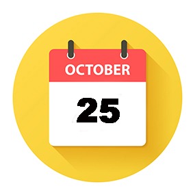 October 15. Round calendar Icon with long shadow in a Flat Design style. Daily calendar isolated on a yellow circle. Vector Illustration (EPS10, well layered and grouped). Easy to edit, manipulate, resize or colorize.